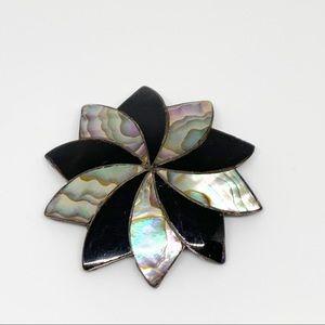 Vintage Black Onyx Abalone Flower Brooch Pendent